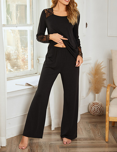 cheap Pajamas-Women's Polyester Suits S Black