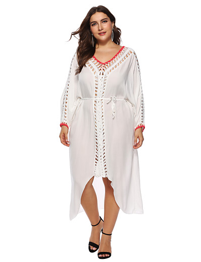 cheap Cover Ups-Women's Plus Size Fashion Cover-Up Swimsuit Asymetric Hem Solid Colored Plunging Neck Swimwear Bathing Suits White / Cotton