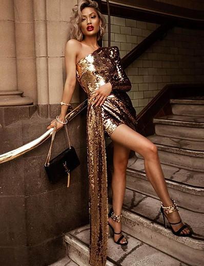 abordables Robes Soirée-Femme Robe Fourreau Mini robe Courte Manches Longues Couleur unie Automne chaud Elégant 2021 Dorée S M L XL
