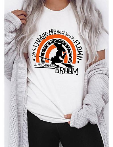 cheap HALLOWEEN 2020-Women's Halloween T-shirt Graphic Prints Letter Print Round Neck Tops 100% Cotton Basic Halloween Basic Top White