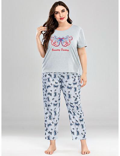 abordables Pyjamas-Femme Mélange de Coton Costumes XL Gris