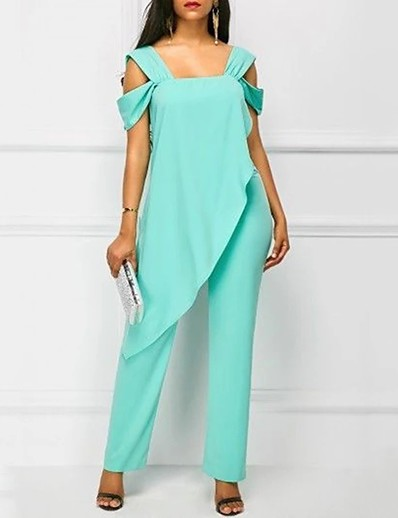 cheap Jumpsuits & Rompers-Women's Basic White Black Light Green Jumpsuit Solid Colored Ruffle