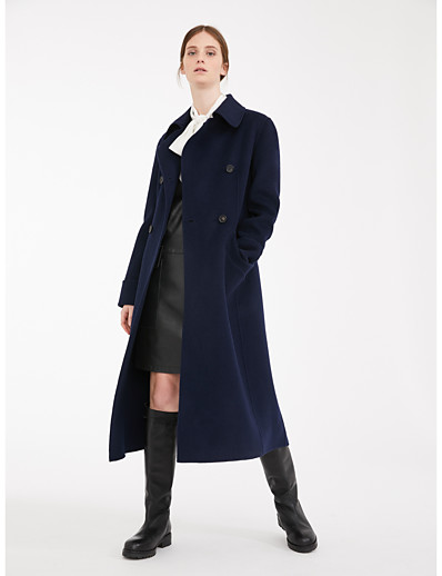 cheap OUTERWEAR-Women's Fall & Winter Coat Long Solid Colored Daily Basic Wool Navy Blue S M L XL