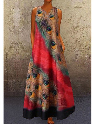 cheap Maxi Dresses-Women's A Line Dress Maxi long Dress Red Navy Blue Light Blue Sleeveless Peacock Feathers Print Summer V Neck Hot Casual vacation dresses 2021 S M L XL XXL 3XL 4XL 5XL / Plus Size