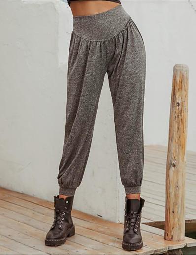 abordables Bas-Femme basique Respirable Ample Quotidien Jogger Pantalon Couleur Pleine Toute la longueur Taille haute Gris