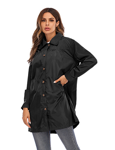 cheap OUTERWEAR-Women's Parka Parka Solid Colored POLY Black / Blue / Army Green S / M / L