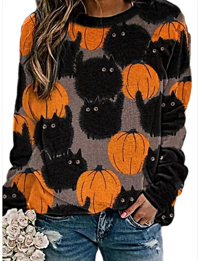 cheap TOPS-Women's Daily Pullover Sweatshirt Graphic Halloween Hoodies Sweatshirts  Loose Blue Orange