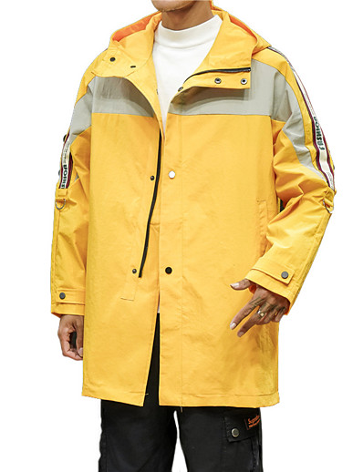 cheap Softshell, Fleece & Hiking Jackets-Men's Windbreaker Rain Jacket Summer Winter Outdoor Thermal Warm Waterproof Windproof Breathable Top Camping / Hiking Fishing Climbing ArmyGreen Black Yellow / Quick Dry / Quick Dry