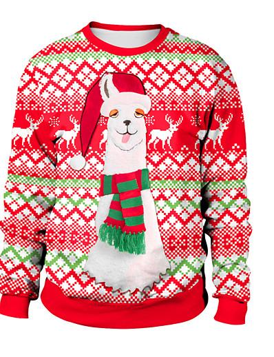 cheap CHRISTMAS-Women's Pullover Sweatshirt Print Color Block Rainbow Daily Active Christmas Hoodies Sweatshirts  Loose Rainbow