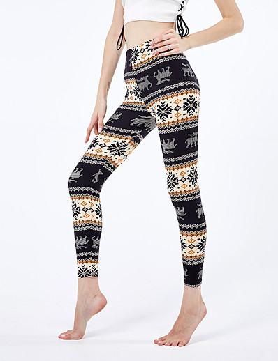 cheap Christmas Accessories-Women's Sporty Yoga Comfort Skinny Christmas Leggings Pants Animal Ankle-Length High Waist Black