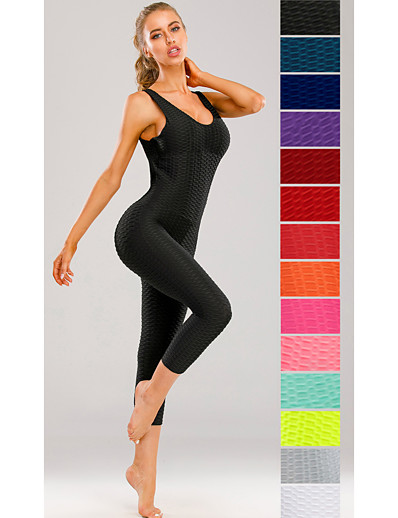 cheap Exercise, Fitness & Yoga-Women's Workout Jumpsuit Scrunch Butt Ruched Butt Lifting Tights Leggings Romper Tummy Control Quick Dry White Black Purple Zumba Yoga Gym Workout Sports Activewear High Elasticity Slim / Sleeveless