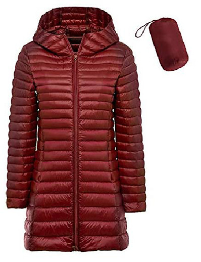 abordables Manteaux & Vestes Grandes Tailles Femme-Doudoune pliable pour femme légère plus la taille doudoune à capuche slim chaud sports de plein air parka de voyage vêtements d'extérieur (s, long-vin rouge)