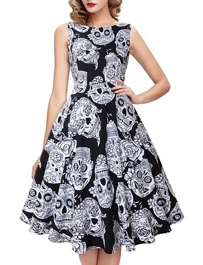 cheap HALLOWEEN 2020-Halloween Women's A-Line Dress Knee Length Dress - Sleeveless Skulls Print Print Fall Vintage Slim 2020 White S M L XL XXL