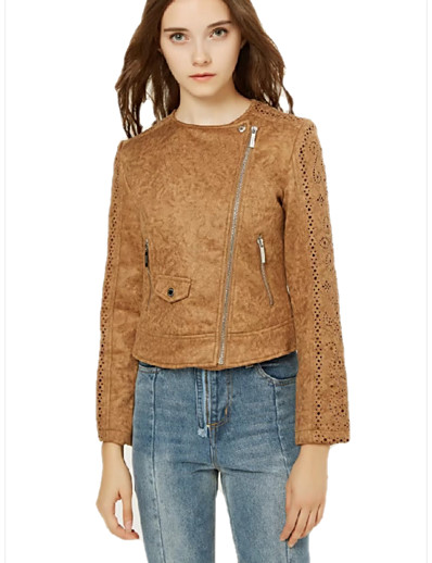 cheap Furs & Leathers-Women's Zipper Faux Leather Jacket Short Solid Colored Daily Basic Yellow Blushing Pink Brown S M L