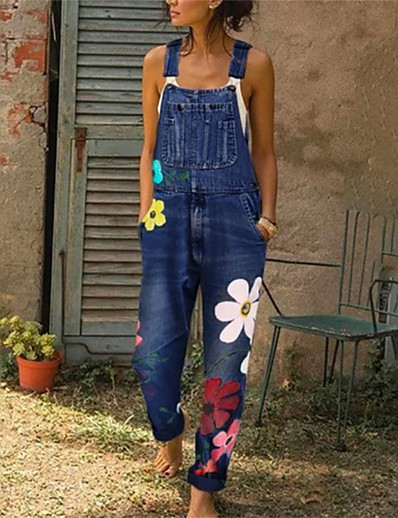 cheap Women's Rompers-Women's Basic Black Blue Romper Floral Color Block Patchwork Print