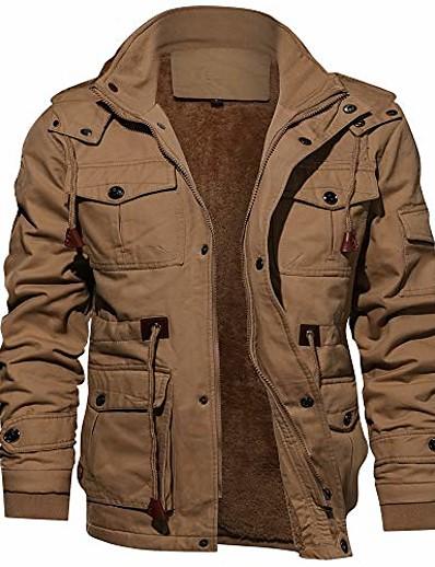 preiswerte Herren Überbekleidung-Herrenjacke lässig Baumwolle Militärjacke Herren Oberbekleidung Fleece Kapuze Wintermantel mit mehreren Taschen Khaki xxl