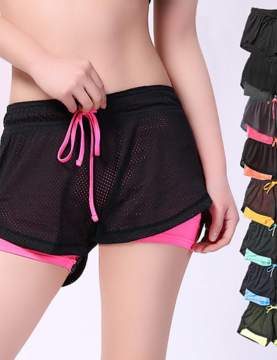 cheap Running, Jogging & Walking-Women's Running Shorts Athletic Bottoms 2 in 1 Liner Drawstring Yoga Fitness Gym Workout Running Active Training Breathable Quick Dry Sweat wicking Sport Iron Gray Black Yellow Pink Orange Sky Blue