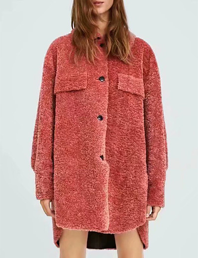 cheap Down& Parkas-Women's Parka Parka Solid Colored Long POLY Red S / M / L / Loose