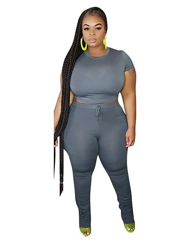 cheap Plus Size Loungewear-Women's Basic Solid Color Two Piece Set T-shirt Loungewear Patchwork Tops / Skinny