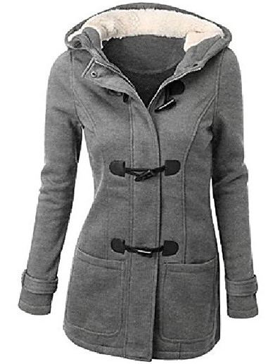 cheap Softshell, Fleece & Hiking Jackets-Women's Hoodie Jacket Coat Winter Outdoor Thermal Warm Windproof Breathable Wear Resistance Coat Top Cotton Camping / Hiking Fishing Climbing Light Gray Wine ArmyGreen Black Brown