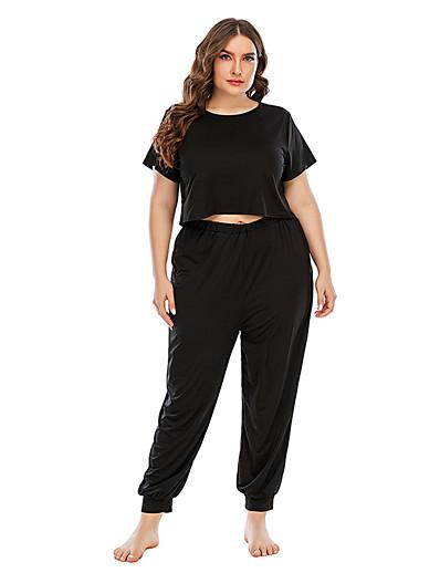 preiswerte Plus Size Loungewear-Damen Baumwollmischung Anzüge XL Schwarz