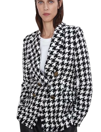 cheap Blazers-Women's Double Breasted Shawl Lapel Blazer Houndstooth Black S / M / L