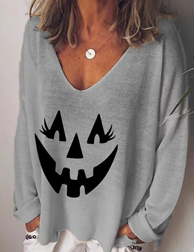cheap HALLOWEEN-Women's Halloween T-shirt Graphic Prints Pumpkin Long Sleeve Print V Neck Tops Basic Basic Top White Black Blue