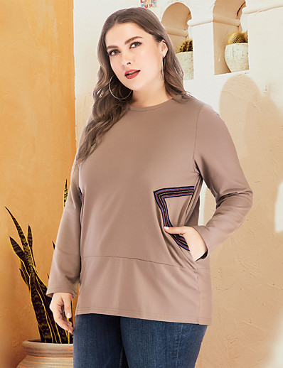 cheap Plus Size Tops-Women's Plus Size Daily Pullover Sweatshirt Solid Color Oversized Basic Hoodies Sweatshirts  Loose Brown Gray