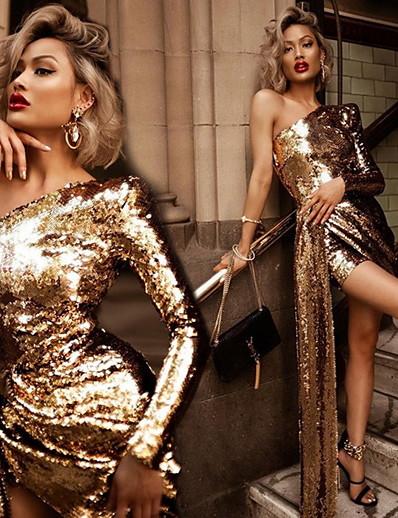 abordables Robes mi-longues-Femme Robe Fourreau Mini robe Courte - Manches Longues Couleur unie Automne Une Epaule Elégant Soirée 2020 Dorée S M L XL
