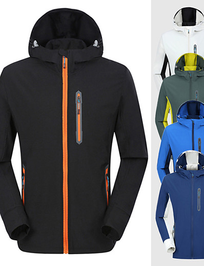 cheap Softshell, Fleece & Hiking Jackets-Men's Hoodie Jacket Hiking Jacket Hiking Windbreaker Summer Outdoor Waterproof Windproof Warm Comfortable Patchwork Outerwear Trench Coat Top Camping / Hiking Hunting Fishing Army Green Royal Blue