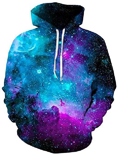 cheap Men's 3D-3d novelty hoodie cool mens hoodies boys pullover sweatshirts hip hop girls hoody galaxy couple lovers pattern coat with big pockets tops for teen boy girl blue purple