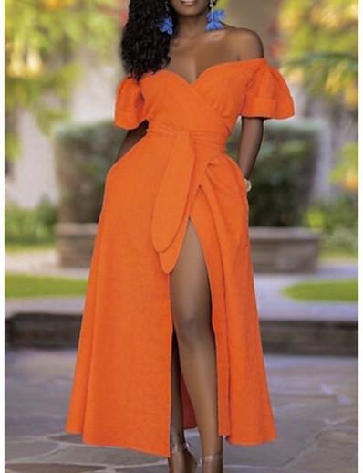 abordables Robe élégante-Femme Robe Trapèze Robe longue maxi Orange Manches Courtes Couleur unie Automne Epaules Dénudées Elégant Soirée 2021 S M L XL XXL 3XL