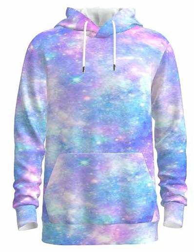 cheap Men's 3D-Men's Pullover Hoodie Sweatshirt Graphic Tie Dye 3D Hooded Daily 3D Print Basic Hoodies Sweatshirts  Long Sleeve Blue