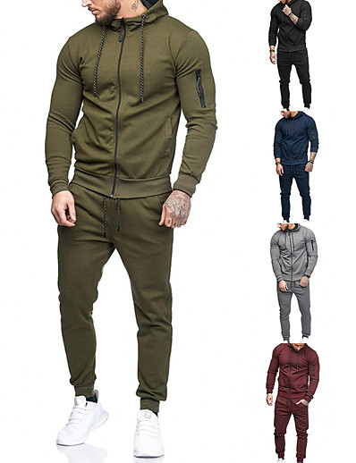 cheap SPORTSWEAR-Men's 2-Piece Full Zip Tracksuit Sweatsuit Jogging Suit Long Sleeve Winter Cotton Thermal Warm Breathable Quick Dry Fitness Gym Workout Running Active Training Bodybuilding Sportswear Solid Colored