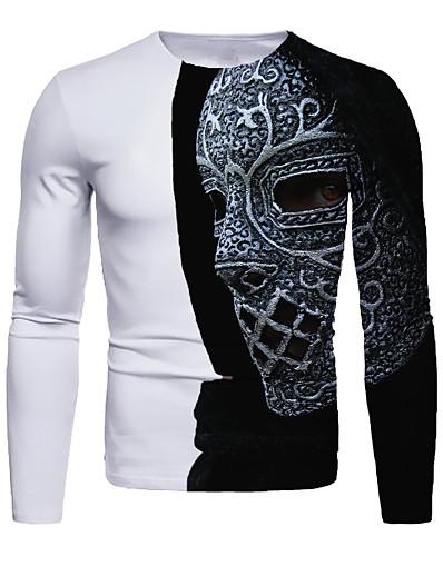 cheap MEN-Men's 3D Graphic T-shirt Long Sleeve Daily Tops Basic Round Neck Black / White White Blue