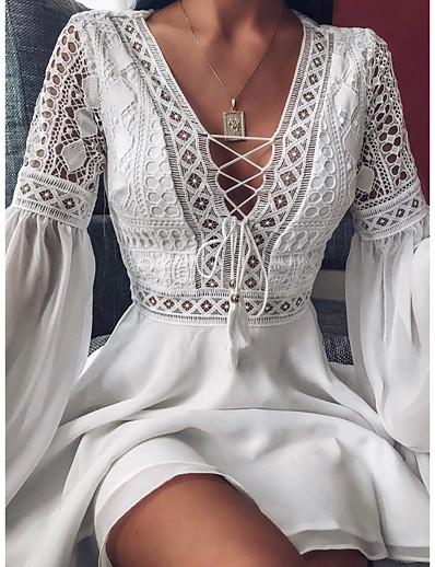 cheap 2021 Trends-Women's A Line Dress Short Mini Dress White Red Black Long Sleeve Solid Color Ruffle Patchwork Spring Summer V Neck Hot Sexy Chiffon Loose 2021 S M L XL