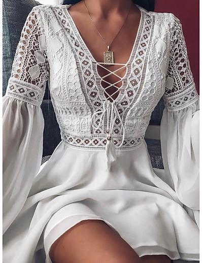 abordables Robes moulantes-Femme Robe Trapèze Robe Longueur Genou Manches Longues Couleur unie A Volants Patchwork Automne chaud Sexy 2021 Blanche Noir Rouge S M L XL XXL