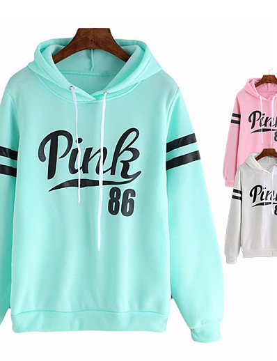 cheap Sports Athleisure-Women's Hoodie Hoodies Pullover Hoody Black White Pink Color Block Fleece Solid Color Cute Sport Athleisure Hoodie Top Long Sleeve Comfortable Everyday Use Daily Casual