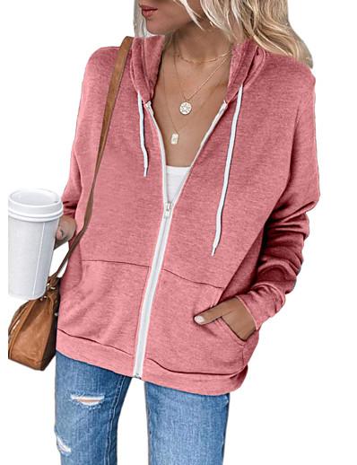 cheap Hoodies & Sweatshirts-Women's Zip Up Hoodie Sweatshirt Solid Color Plain Zip Up Front Pocket Daily non-printing Basic Hoodies Sweatshirts  Black Blue Blushing Pink