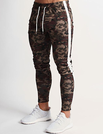 cheap Running, Jogging & Walking-Men's Sweatpants Joggers Athleisure Bottoms Drawstring Winter Fitness Gym Workout Performance Running Training Breathable Quick Dry Soft Normal Sport Camouflage Camouflage Gray / Stretchy