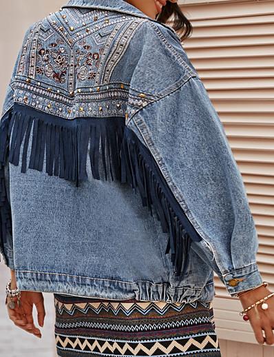 cheap Jackets-Women's Solid Colored Tassel Fringe Basic Spring &  Fall Denim Jacket Regular Daily Long Sleeve Denim Coat Tops Blue