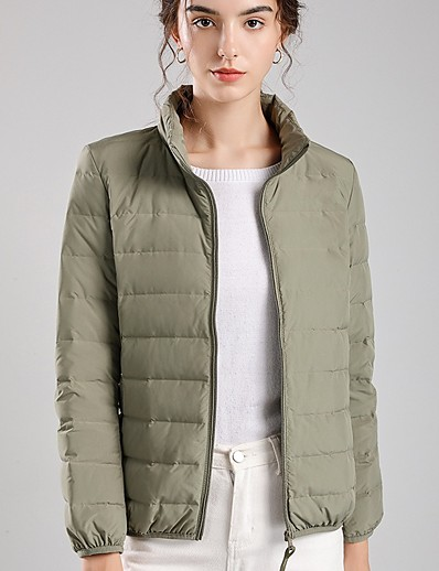 cheap 10/16/2020-Women's Down Parka Solid Colored POLY White / Black / Red S / M / L