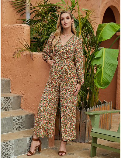 cheap Jumpsuits & Rompers-Women's Basic Sophisticated V Neck Rainbow Jumpsuit Floral Print / Wide Leg