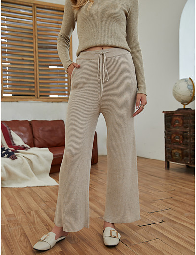 cheap Bottoms-Women's Basic Outdoor Slim Daily Chinos Pants Solid Colored Full Length Drawstring Khaki