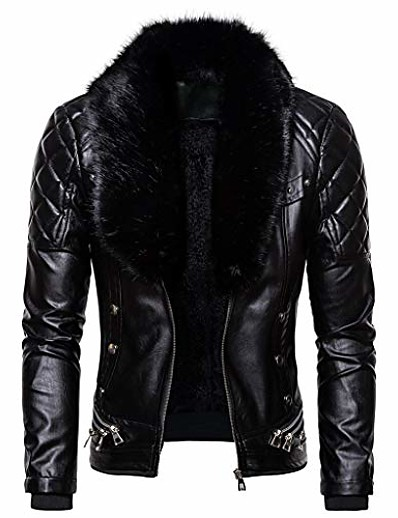 cheap Men's Outerwear-men's zipper removable fur collar jacket, vintage steam pocket punk gothic retro coat