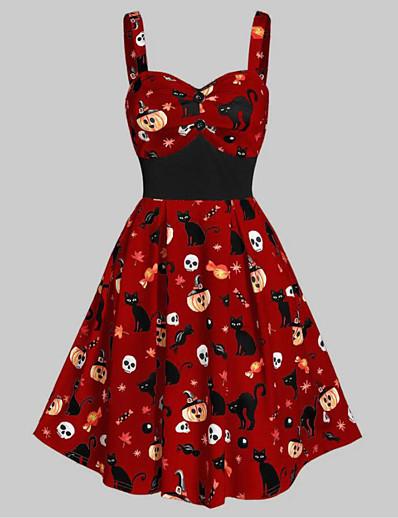 cheap HALLOWEEN 2020-Halloween Women's Strap Dress Knee Length Dress - Sleeveless Cat Pumpkin Skulls Print Ruffle Patchwork Print Fall V Neck Vintage Cotton Slim 2020 White Black Red S M L XL XXL