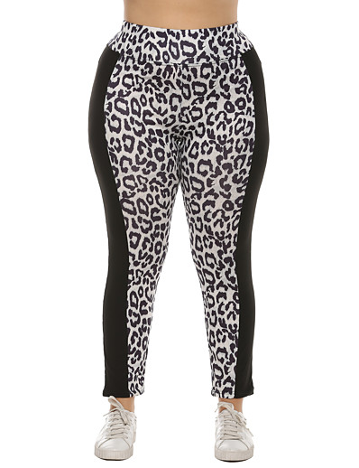cheap Women's Bottoms-Women's Basic Breathable Plus Size Daily Chinos Pants Leopard Full Length High Waist White