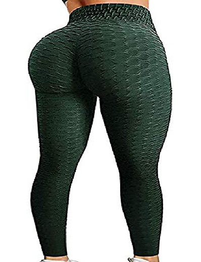 cheap Leggings-booty yoga pants women,high waisted ruched butt lift textured scrunch tummy control slimming leggings workout tights(deep green,xl)