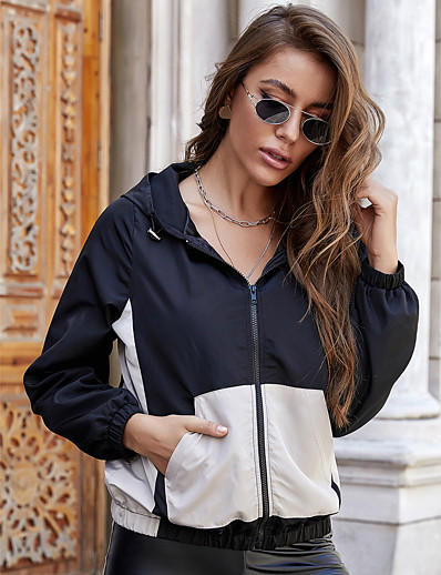 cheap Outerwear-Women's Jacket Color Block Patchwork Sporty Fall Regular Daily Long Sleeve Coat Tops Black