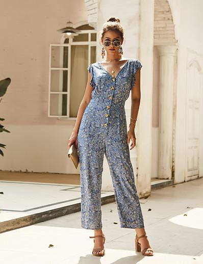 cheap Jumpsuits & Rompers-Women's Basic Blue Jumpsuit Geometric Print